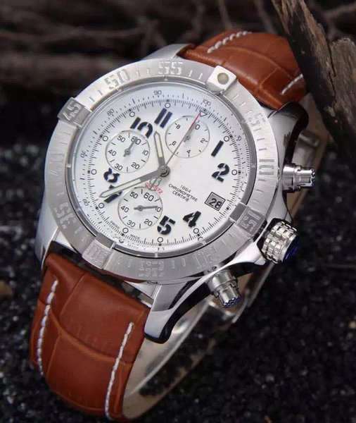 Designer Leather Chronograph 1884 Japanese Quartz Luxury Mens Stainless Steel Watch Sports men's Stopwatch Watches Automatic Wristwatches