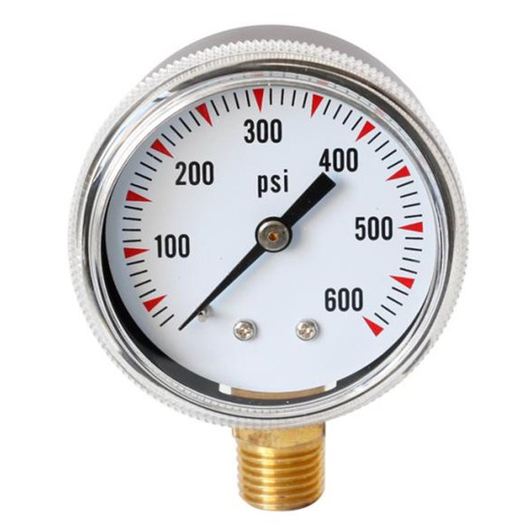 best selling Single Scale Liquid Filled Air Pressure Gauges, 0 600 psi Range, Dial Display, 1 4 inch Male NPT Bottom Mount