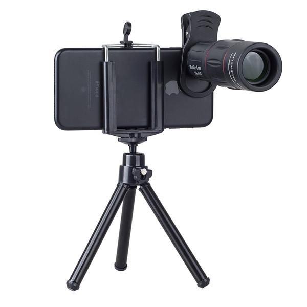 18X Telescope Zoom Mobile Phone Lens for iPhone Samsung Smartphones universal clip Telefon Camera Lens with tripod 18XTZJ
