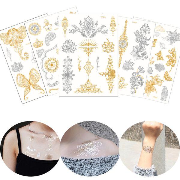 Flash Gold Metallic Tattoo Silver Datura Henna Flower Designs Waterproof Temporary Chest Shoulder Arm Body Art Tattoo Stickers Western Style