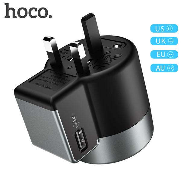 HOCO AC4 Adaptateur de chargeur double USB pour Samsung S10 S9 iPhone Voyage Universel Tout-En-Un Convertisseur avec EU US UK AU Plug