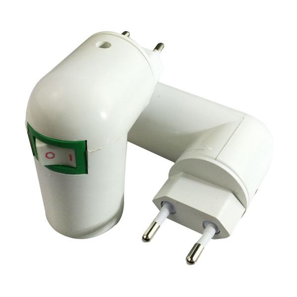 EUA / UE Plug PBT PP Para E27 Branco Base de Luz CONDUZIU a Lâmpada Titular Conversor Adaptador de Lâmpada Soquete Para E27