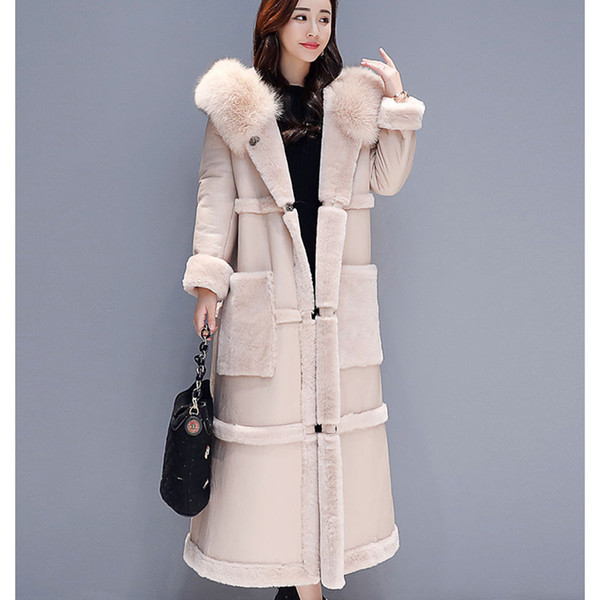 Winter Faux Leather Coat Hooded Parka Female Fashion Faux Fur Coat X-Long jacket Thick Warm Wool Sheep Leather Overcoat