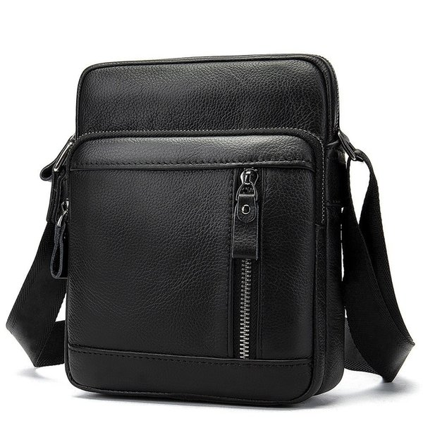 Fashion Messenger Bag Men's Genuine Leather Shoulder Bag Soft Surface Small Ipad Crossbody Bags For Men Naturally Male Flap Bags