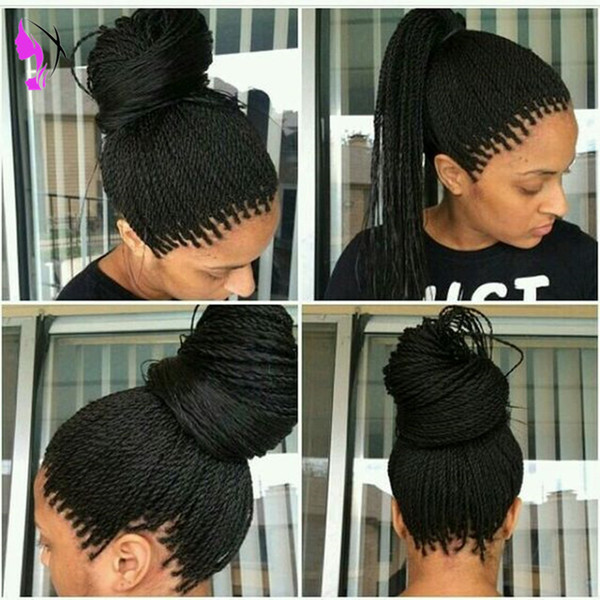 Handmade braided full lace front wig black/brown /burgundy /ombre senegalese twist wig micro lace frontal braids wig with baby hair