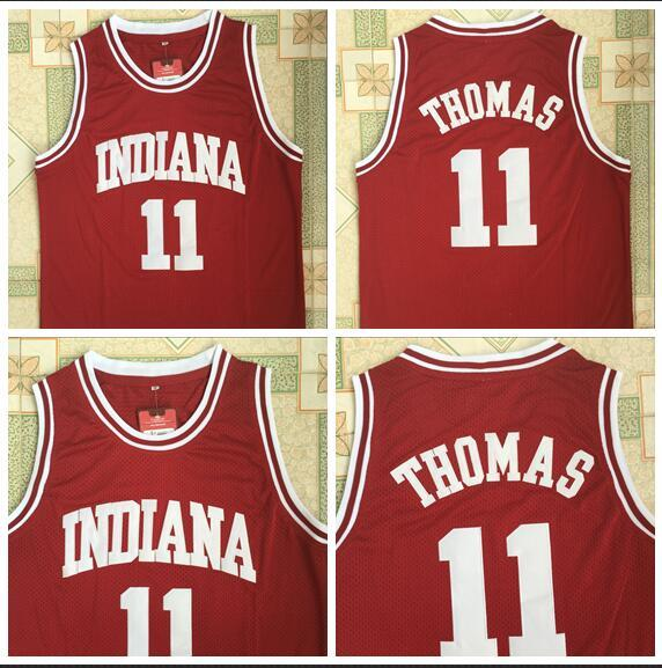 NCAA Indiana 11 IsiahThomas Jersey aus burgunderrot gesticktem New Fabric Jersey S-XXL