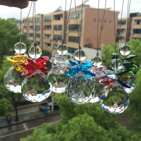Beautiful Glass Beads With Crystal faceted ball Pendant For Christmas Tree Decoration/ Suncatcher Hanging Home Decoration