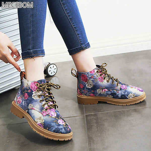 8808w Women Winter Shoes Canvas Motorcycle Wedge Ankle Flower Snow Boots Female Warm Flats Vintage Platform Botas Mujer