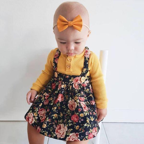 New Borns Kids Baby Girl Warmer Clothes Blusas de manga larga a rayas con botones + Faldas con tirantes con estampado Sloral + Diadema Conjunto de trajes de 3 piezas