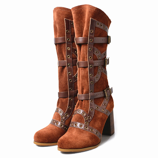 round toe high heel suede leather women knee high boots rivet stud belt buckle knight boots women fahsion new design gladiator boots