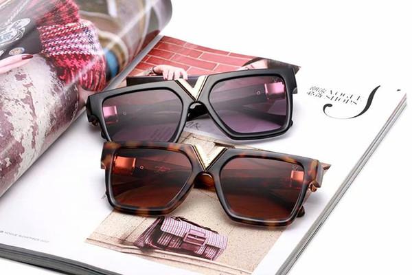 Designer Geometrie Sonnenbrille Damen Herren uv400 Objektiv Sonnenbrille Herren Legierung Gestell Brille Oculos De Sol mit braunen Etuis und Box