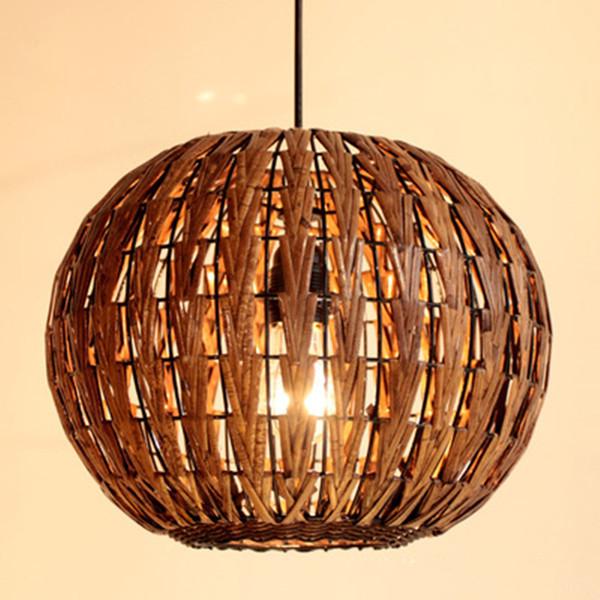 Sudeste de Asia Linterna Ratán Comedor Techo Lámpara de techo Lámpara de estudio Colgante Restaurante hecho a mano Colgante accesorio