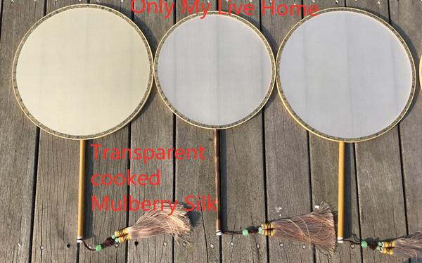 Fine cinese tradizionale Mulberry Silk Fan Dance Costume bianco Vintage Bamboo Handles Fan mano DIY pittura ricamo ventilatore mano