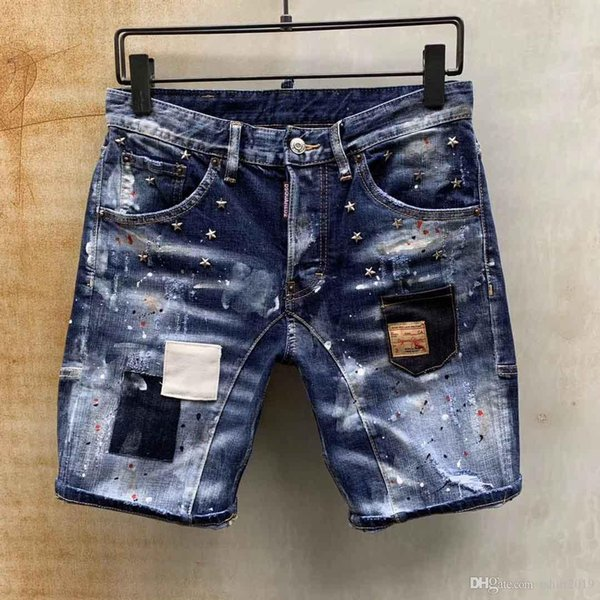 D2 2019 Nouveau célèbre marque designer long déchiré jeune individualité douce jeans hommes doux qualité mode luxe biker jeans pour hommes vente chaude