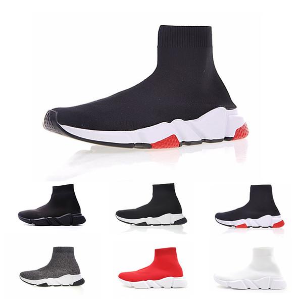 Sapatos de esportes de meias de luxo velocidade treinador preto malha, triplo preto liso moda meias botas, com caixa 20