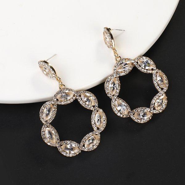 Tropfen-Ohrringe Flashbuy Einzigartige Champagner Rhinestone-Tropfen-Ohrringe für Frauen-Kristall Geometric Statement Mode Ohrring Schmuck Hochzeit Geschenk