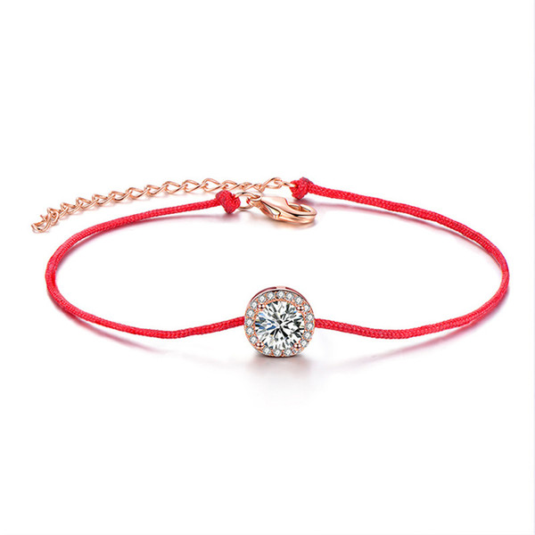 Red rope bracelet femme fashion handmade jewelry adjustable rose gold Chain charm zircon bracelet for women accessories gift
