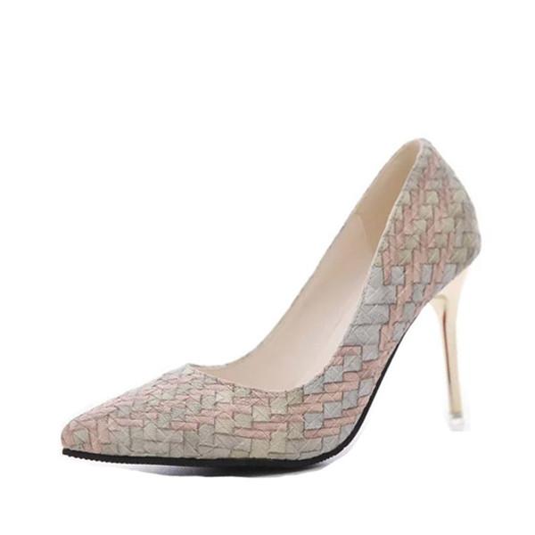 Designer Dress Shoes 2019 Pumps summer Woman autumn national wind retro plaid heels pointed fine with single women Asakuchi career.