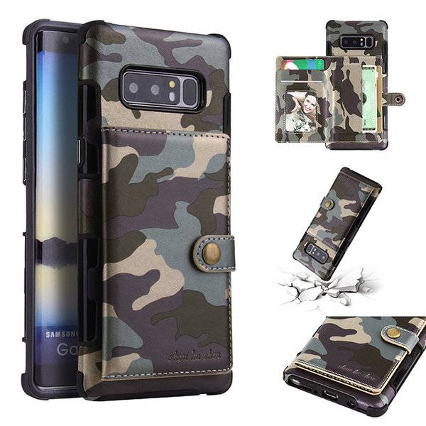 Luxury Camouflage Mobile Phone Case Cell Phone Wallet Card Pocket Case Bag Cellphone Protective Back Cover Shell For Samsung S8
