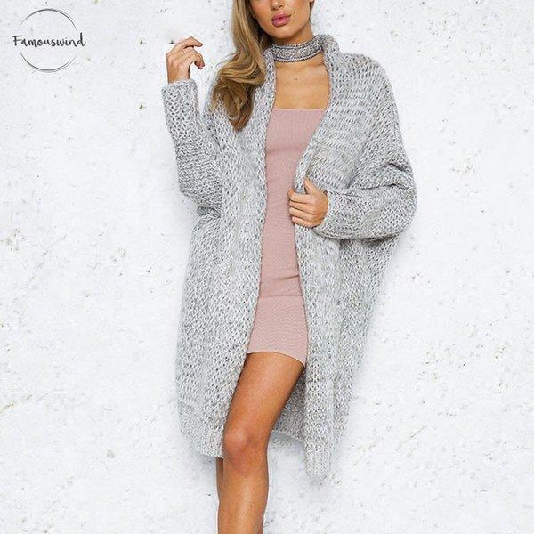 Cardigan long Pull Femme Femme Cardigan Casual Taille Plus Femme Automne Hiver en vrac pull en tricot Manteau Jumper