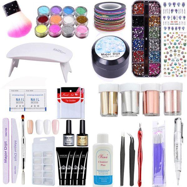 41pcs Nail Gel Polish Nail Set with UV Led Lamp dryers Rhinestones Dipping  Foil Pedicure Manicure Tool Kit