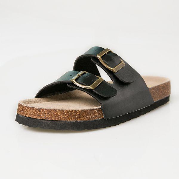 1Wholesale Summer women luxury beach cork Slippers Casual Sandals Sequins Slides Double Buckle Clogs Women Slip on Flip Flops Flats Shoes 3A