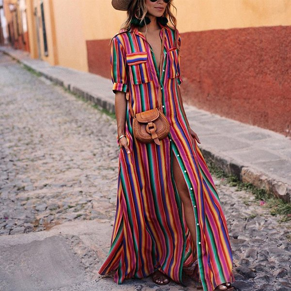 Women Vintage Maxi Dresses 2019 New Autumn Office Lady Elegant Strips Long Dresses Sleeves Femme Vestidos