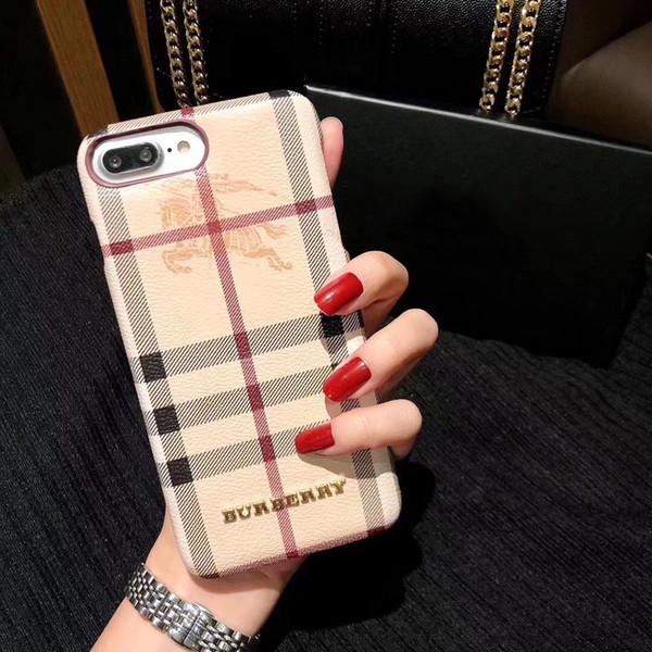Para el iPhone X XS Max XR Reino Unido Marca de teléfono de la caja del caballero para IPhoneX 8 7 6 6s Plus Patrón de moda Celular Contraportada Fundas