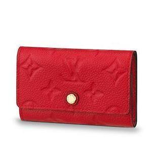2019 M64423 6 KEY HOLDER Embossing red Real Caviar Lambskin Chain Flap Bag LONG CHAIN WALLETS KEY CARD HOLDERS PURSE CLUTCHES EVENING