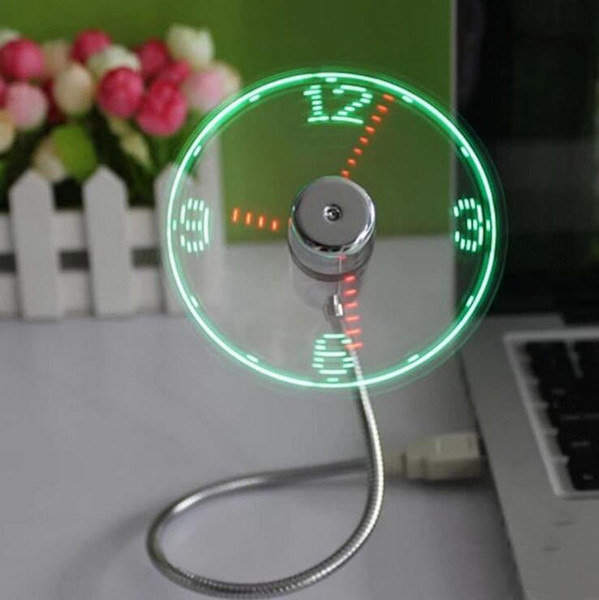 USB Gadget Mini Flexible LED-Leuchte USB Fan Time Clock Desktop-Uhr Cool Gadget Time Display Fan