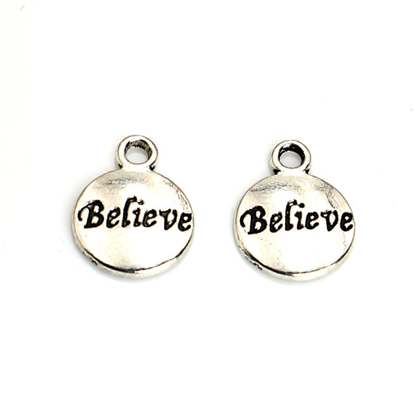 20pcs Tibetan Silver Plated Words Believe Charms Pendants for Jewelry Making DIY Handmade Craft 15x12mm A119