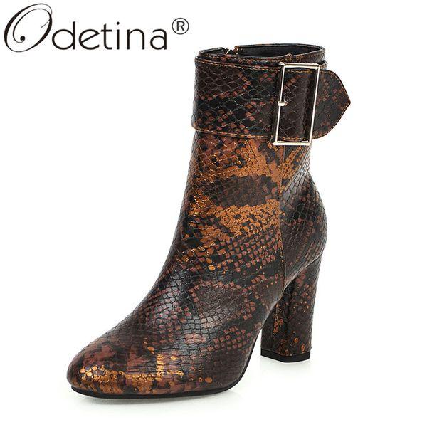 odetina women snakeskin buckle strap side zip up ankle boots block high heel autumn round toe ladies winter dress shoes big size
