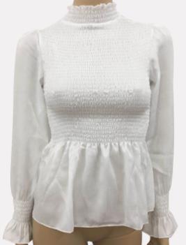2019 Frühlings-Sommer-Frauen Tops Mode Flare lange Hülsen-Chiffon- Blusen-Pullover mit Stehkragen Fest Kleidung Lässige Shirts