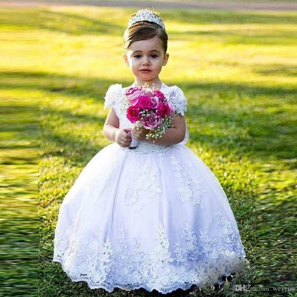 Stylish Ball Gown Little Girls Dresses for Wedding Jewel Neck Short Sleeve With Bow Toddler Communion Gown Ankle Length Child Party Skirt