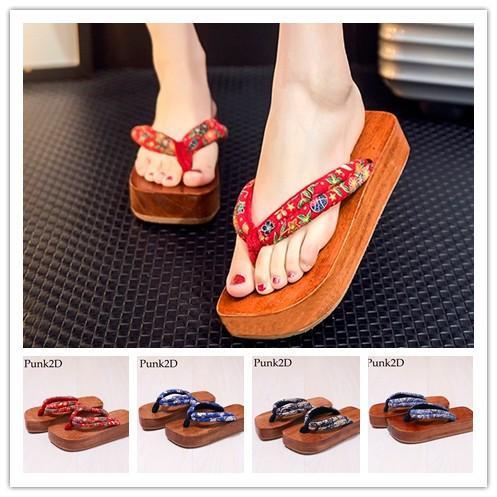 Women Japanese Wooden Geta Fashion Summer Flip Flops High Heel Sandals Beach Summer Shoes Sexy Cosplay Shoes Casual Sandals Slippers
