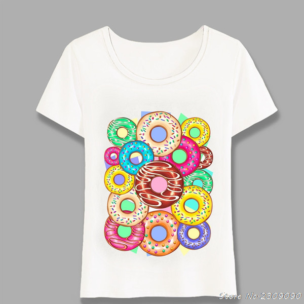 Summer Women T Shirts Colorful Donuts Punchy Pastel Flavours Art T-Shirt Casual Tops Cute Girl Tees Pink Design T Shirt Harajuku