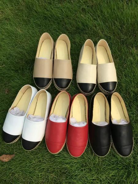 Novas Mulheres Clássicas Sandálias de Verão Alpercatas Sapatos de Pescador de Couro de Salto Baixo Lazer Designer de tênis de lona plimsolls Tamanho 35-42
