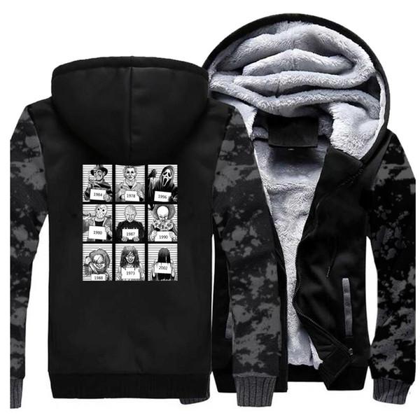 Freitage Der 13 Maske Men Winter Thick Warm Fleece Jacket Hallowen Horro Movie Male Thicken Sweartshirt Coat SportSwear Jackets