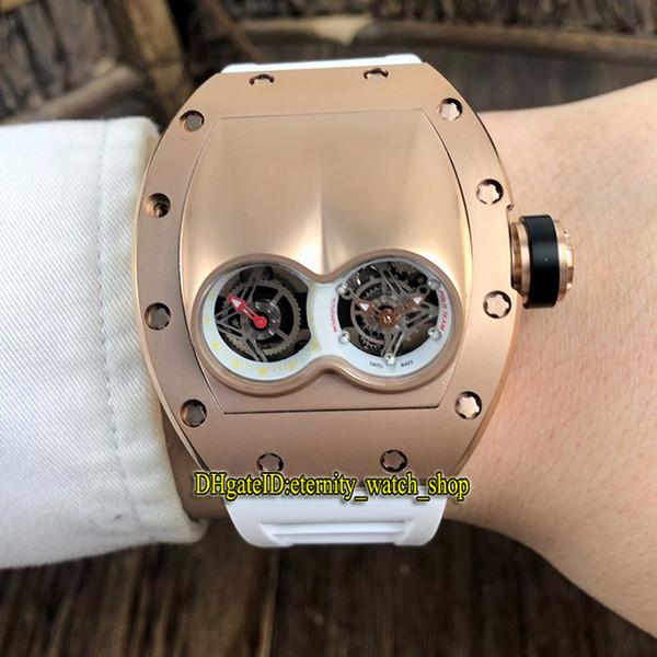 Cheap Best Quality RM 053 Unique double Dial Swiss Quartz Movement Mens Watch RM053 Rose Gold Steel Case Rubber Strap Luxury Sport Watches