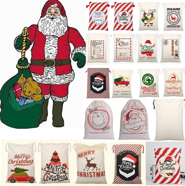 Hot sale Christmas Drawstring cartoon Canvas bags Large Santa Claus Reindeers Monogramable Christmas kids Gifts Sack Bags Xmas bag