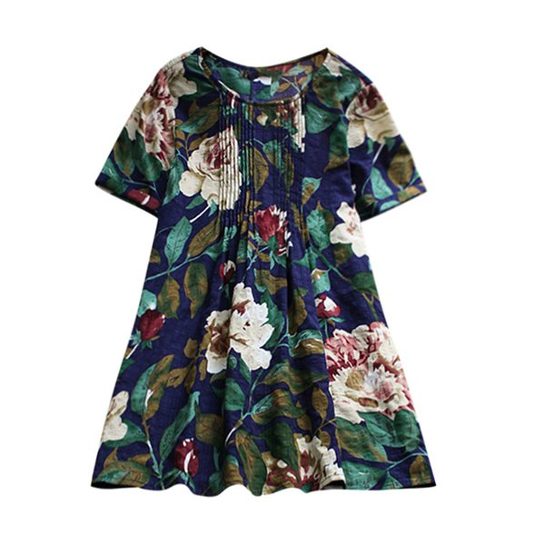 Plus Size Women Fashion Shirt Flower Print Casual Short Sleeve Tops Floral Printing Top Blouse Long Sleeve Casual Women Clothing