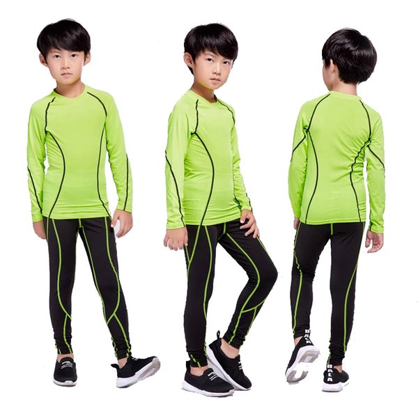 children's sportswear sports suit compression warm base layer running long-sleeved t-shirt + thermal pants 2 piece tracksuit boy thumbnail