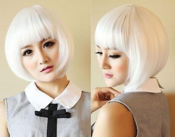 WIG LL Hot heat resistant Party hair>>>New Womens Lady Short Straight Full Wigs Cosplay Costume White Bob
