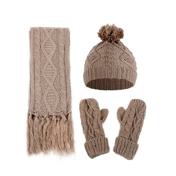 Autumn And Winter Women Diamond Twisted Knitted Wool Hat Scarf And Glove Three Piece Set
