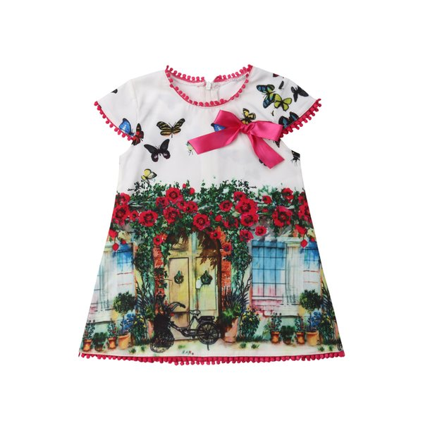 Summer Toddler Kids Girls Oil Painting Butterfly Cute Loose Dress Sundress Baby Girl Floral Princess Vestidos Dresses Clothes