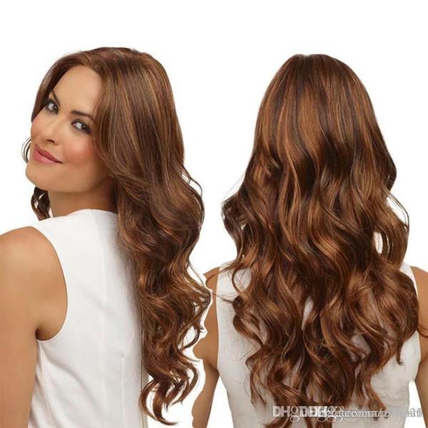 Großhandel Lange Ombre Braun Wellige Perücke Blonde Cosplay Synthetische Perücken Für Schwarz Weiß Frauen Glueless Haar Hohe Dichte Temperatur