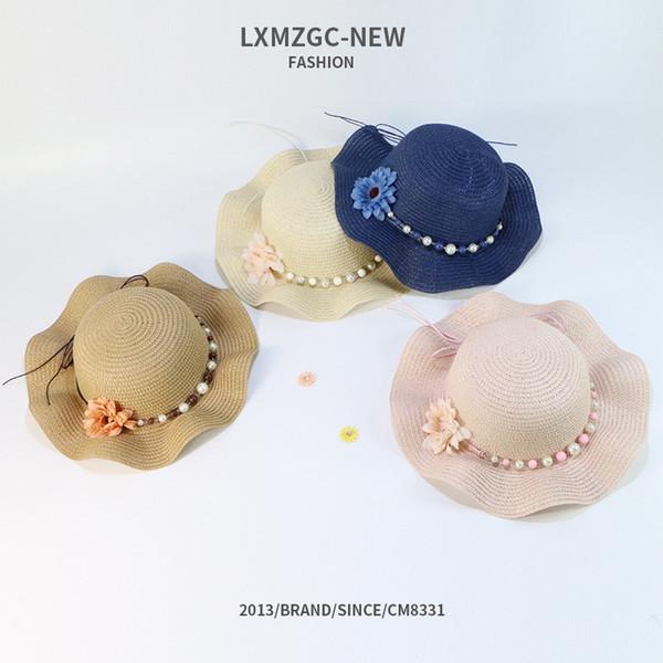 Children's hats spring sun block sun hat Korean version of summer wavy eave straw hat outdoor sun hat women
