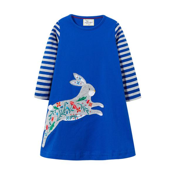Fashional vestido de novia Kids Girls Dress Children Girls Blue Rabbit Animal Knee-length A-line Animal Flower Cotton Baby Girls Dress INS
