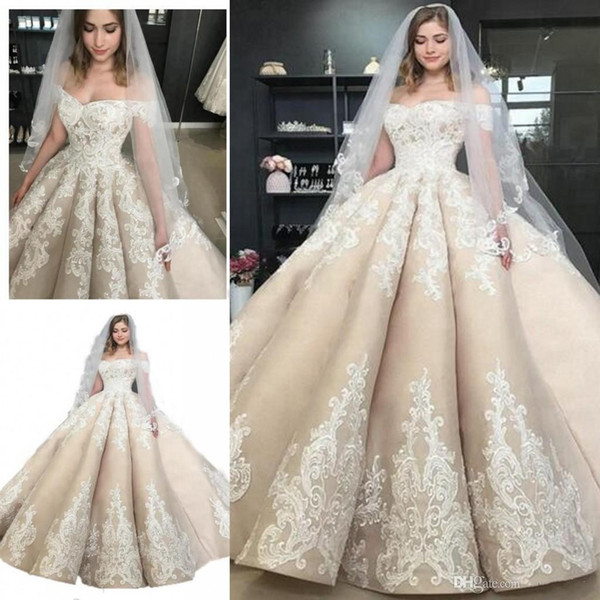 Custom Made Ball Gown Wedding Dresses With Off-Shoulder Lace Real Image Cinderella Sexy Puffy Bridal Gowns