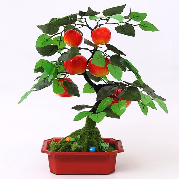 Fashion Simulation Fruit Bonsai Fake Orange &apple &peach Tree Potted Home Living Room Decoration Fake Flower Bauble Model